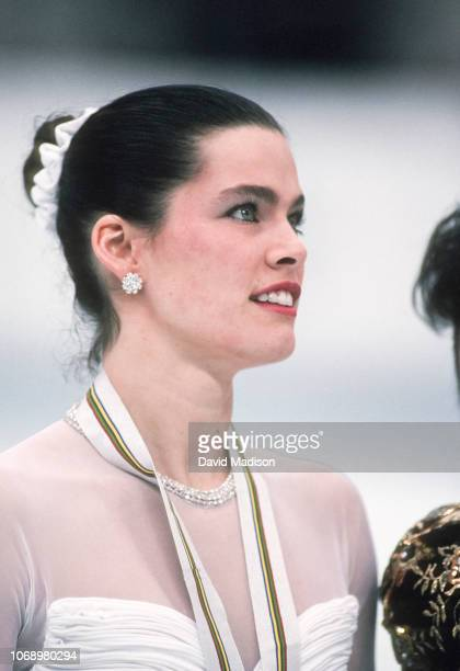 Nancy Kerrigan of the United States participates in the awards ceremony for the Ladies Singles event of the Figure Skating competition of the 1992...