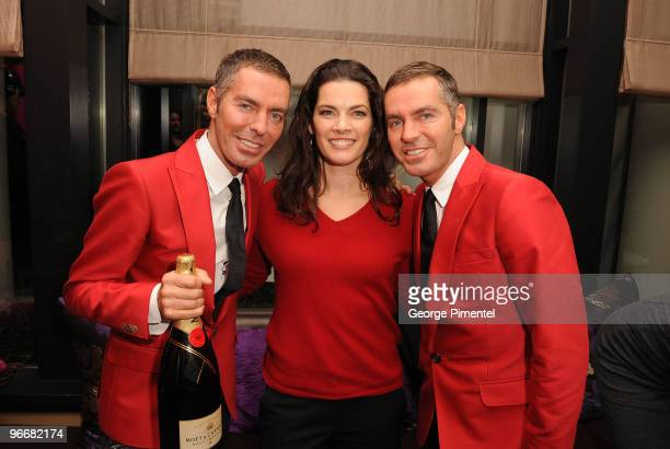 Nancy Kerrigan with Designers Dean Caten and Dan Caten at the DSquared and MAC Cosmetics celebration for the opening of the 2010 Winter Olympic Games...