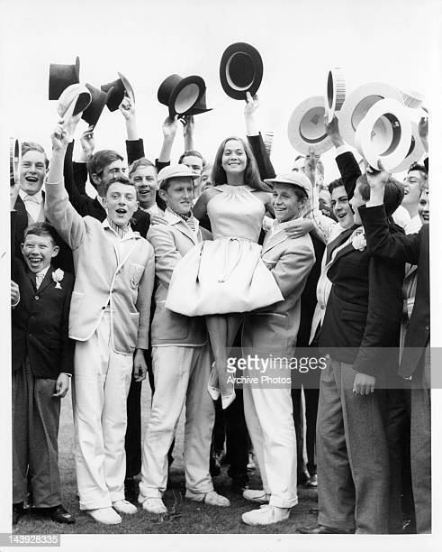 Nancy Kwan makes appearance at Wellington College after filming scenes for the film 'Tamahine' 1963