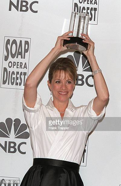 Nancy Lee Grahn with her Outstanding Supporting Actress Award