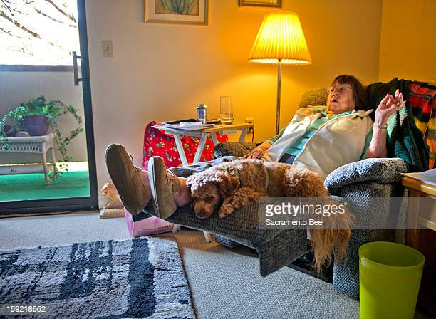 Nancy Lee Moore pictured January 3 in Sacramento, with her poodle/Lhasa Apso mix Sophie moved to Eskaton Monroe Lodge in Sacramento from Lincoln,...