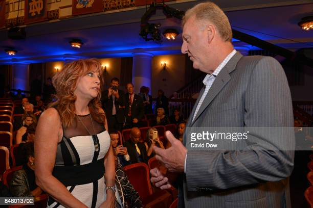 Nancy Lieberman and Larry Bird talk before the 2017 Basketball Hall of Fame Enshrinement Ceremony on September 8 2017 at the Naismith Memorial...