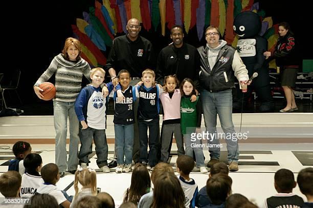 Nancy Lieberman Cline Bob Lanier Rolando Blackman and Donnie Nelson representing the Dallas Mavericks pose for photos during an NBA Cares event at...