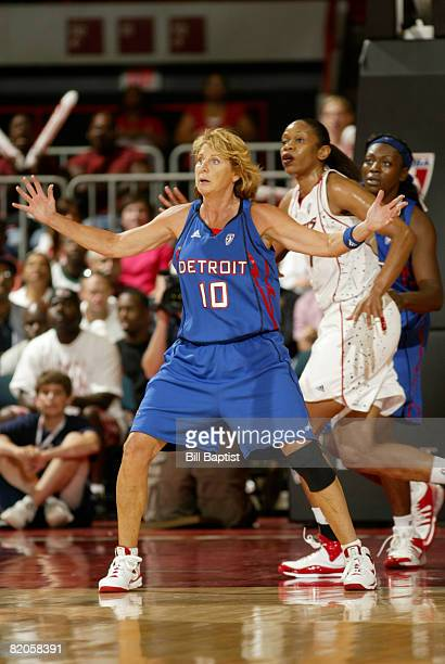 Nancy Lieberman of the Detroit Shock stands ready during the game against the Houston Comets at Reliant Arena July 24 2008 in Houston Texas NOTE TO...