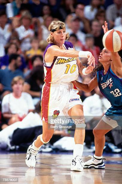 Nancy LiebermanCline of the Phoenix Mercury attempts a pass against the Utah Starzz during a game played August 61997 at the America West Arena in...