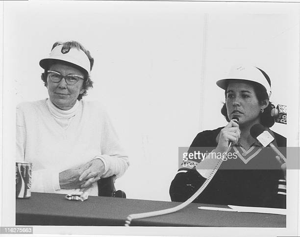 Nancy Lopez and Mickey Wright at post round interview during 1979 CocaCola Classic at Upper Montclair CC in Clifton NJ
