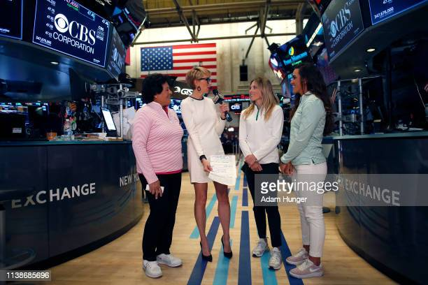 Nancy Lopez Gerri Willis Sierra Brooks and Maria Fassi during an interview at the New York Stock Exchange for the Augusta National Women's Amateur...