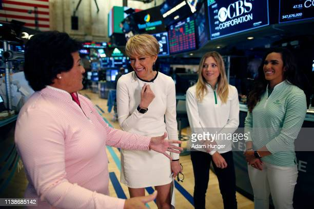 Nancy Lopez Gerri Willis Sierra Brooks and Maria Fassi share a laugh with at the New York Stock Exchange for the Augusta National Women's Amateur...
