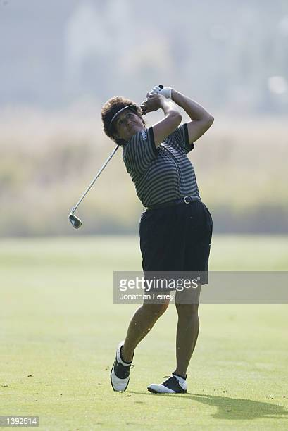 Nancy Lopez hits a shot on September 14, 2002 during the second round of the Safeway Classic at Columbia Edgewater Golf Club in Portland Oregon.