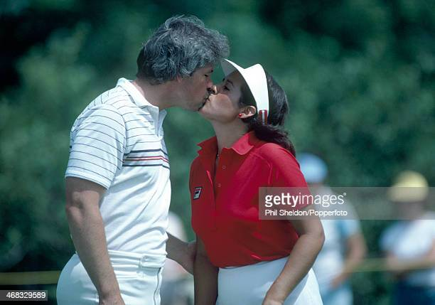 Nancy Lopez of the United States and her husband Tim Melton kissing during the US LPGA Championship held at the Jack Nicklaus Golf Centre Ohio circa...
