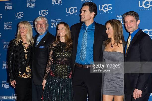"""Nancy Marr, director Jean-Michel Cousteau, Celine Cousteau, actor Capkin Van Alphen, Lisa Singer and Fabien Cousteau arrive at the """"Attenborough..."""