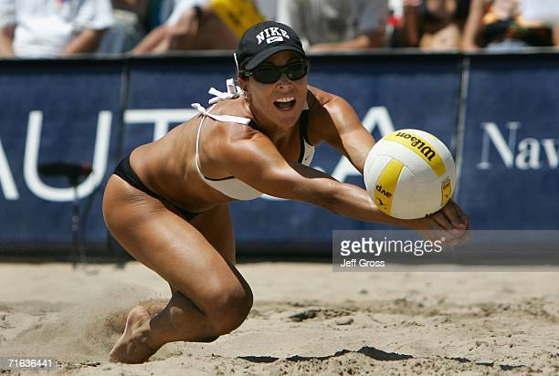 Nancy Mason digs the ball during the AVP Manhattan Beach Open final match on August 12 2006 in Manhattan Beach California Misty MayTreanor and Kerri...