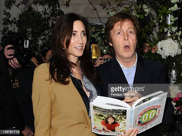 Nancy McCartney and Sir Paul McCartney attend the launch of Mary McCartney's cook book 'FOOD by Mary McCartney' at Liberty on May 3, 2012 in London,...