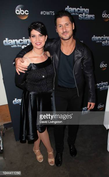 Nancy McKeon and Val Chmerkovskiy pose at 'Dancing with the Stars' Season 27 at CBS Televison City on October 1 2018 in Los Angeles California