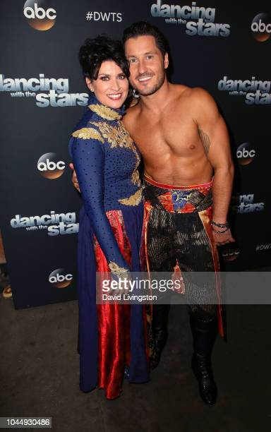 """Nancy McKeon and Val Chmerkovskiy pose at """"Dancing with the Stars"""" Season 27 at CBS Televison City on October 2, 2018 in Los Angeles, California."""