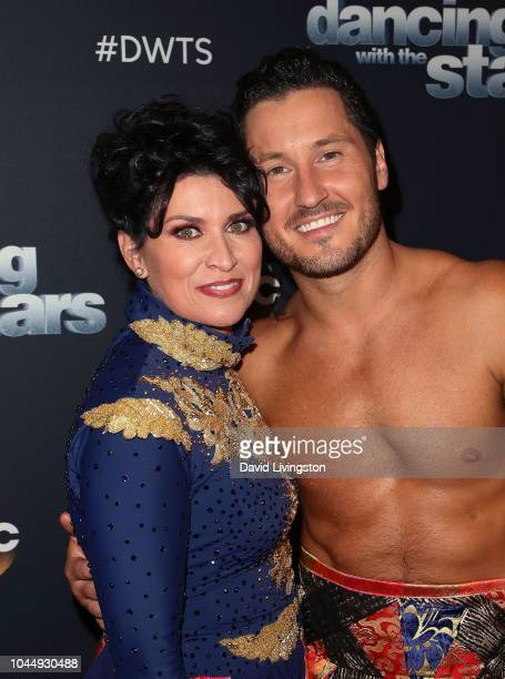 Nancy McKeon and Val Chmerkovskiy pose at Dancing with the Stars Season 27 at CBS Televison City on October 2 2018 in Los Angeles California