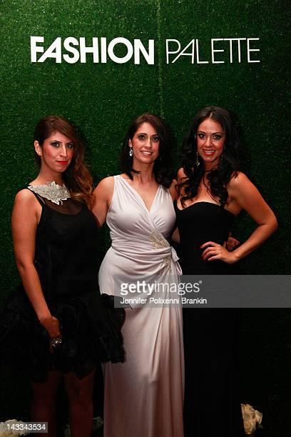 Nancy Mefaddi, Sonya Mefaddi and Sandie Mefaddi attend the Fashion Palette 2012 launch at Four Points by Sheraton Sydney on April 24, 2012 in Sydney,...