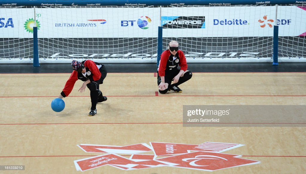 Nancy Morin of Canada (9) throws during the Women's Team Goalball preliminary round match against USA on Day 6 of the London 2012 Paralympic Games at the Copper Box in the Olympic Park on September 4, 2012 in London, England. Canada went on to win the match 1-0.