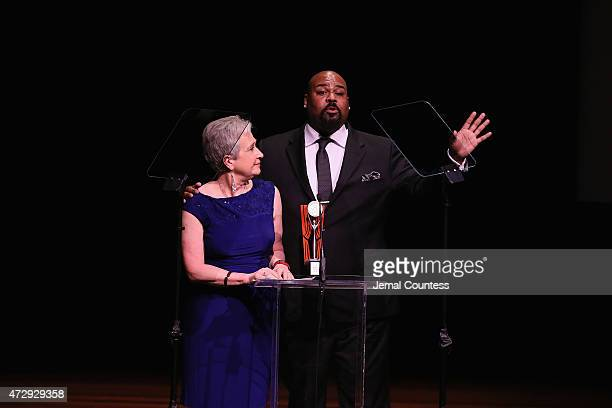 Nancy Nagel Gibbs and James Monroe Iglehart speak onstage at the 30th Annual Lucille Lortel Awards at NYU Skirball Center on May 10 2015 in New York...