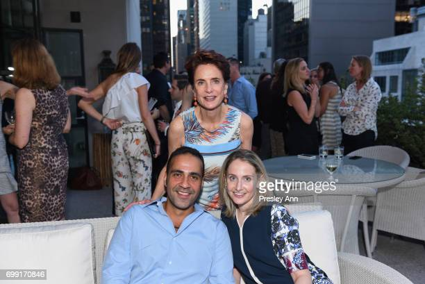 Nancy Novogrod Aatish Taseer and Caroline Novogrod attend Essentialist Launch Party at The Whitby Hotel at the Whitby Hotel on June 20 2017 in New...