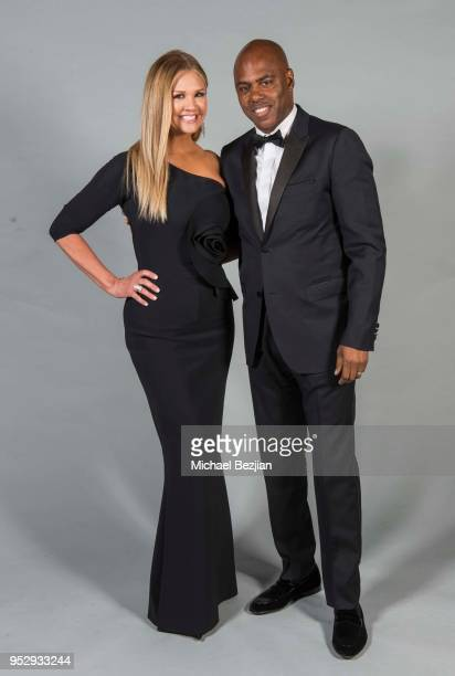 Nancy O'dell and Kevin Frazier pose for portrait at 45th Daytime Emmy Awards Portraits by The Artists Project Sponsored by the Visual Snow Initiative...