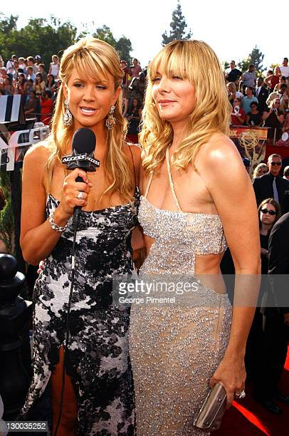 Nancy O'Dell with Kim Cattrall during The 55th Annual Primetime Emmy Awards Access Hollywood Red Carpet at The Shrine Theater in Los Angeles...