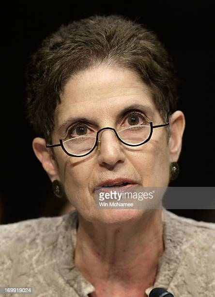 Nancy Parrish president of Protect Our Defenders testifies before the Senate Armed Services Committee on pending legislation regarding sexual...