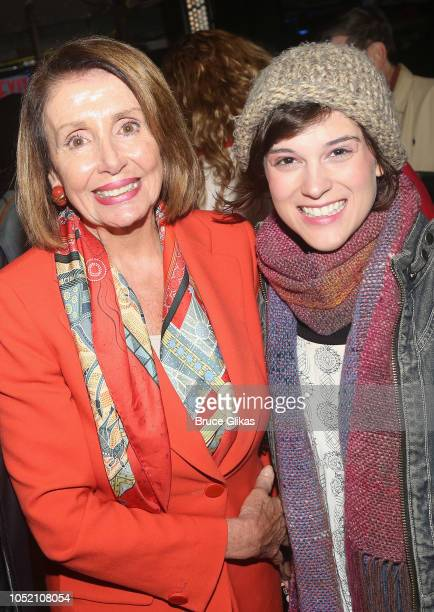 Nancy Pelosi and Alexandra Socha pose backstage at the hit musical based on 'The GoGo's' songs 'Head Over Heels' on Broadway at The Hudson Theatre on...