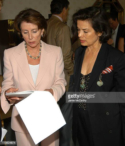 Nancy Pelosi and Bianca Jagger during The Creative Coalition's Private TCC Meeting with House Minority Leader Nancy Pelosi at The Four Seasons Hotel...