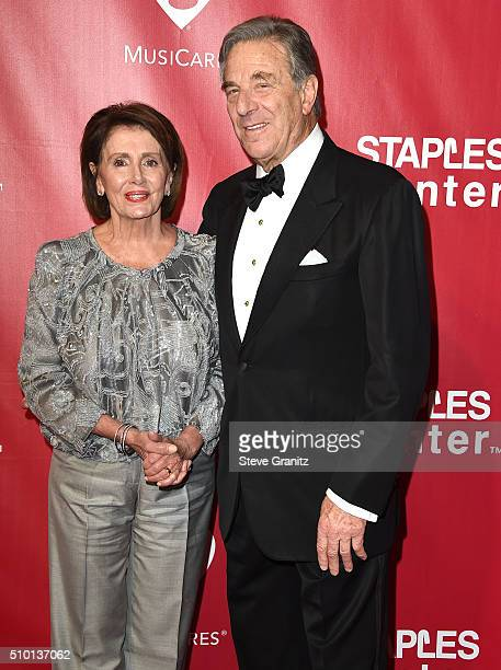 Nancy Pelosi and Paul Pelosi arrives at the 2016 MusiCares Person Of The Year Honoring Lionel Richie at Los Angeles Convention Center on February 13...