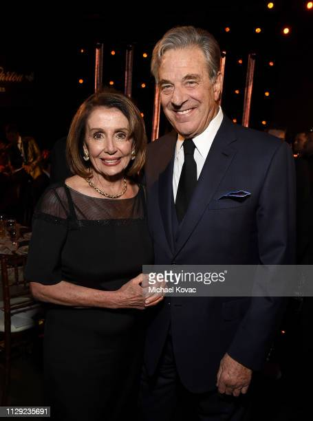 Nancy Pelosi and Paul Pelosi attend MusiCares Person of the Year honoring Dolly Parton at Los Angeles Convention Center on February 8 2019 in Los...