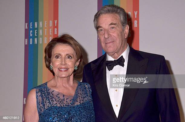 Nancy Pelosi and Paul Pelosi walk the red carpet during the 27th Annual Kennedy Center Honors at John F Kennedy Center for the Performing Arts on...
