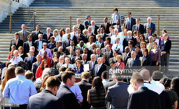 Nancy Pelosi and the House Democrats spoke about the shutdown on the House steps. She raised a letter to Speaker John Boehner, asking him to let the...