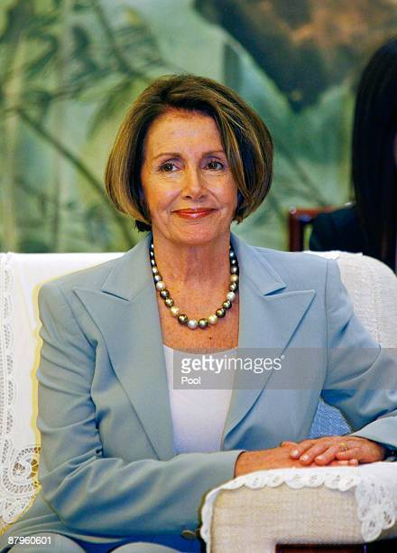 Nancy Pelosi speaker of the United States House of Representatives smiles during a meeting with Mayor of Shanghai Han Zheng on May 25 2009 in...