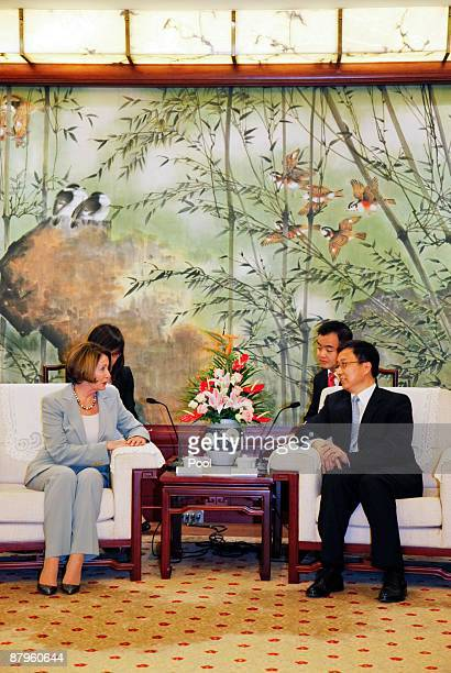 Nancy Pelosi speaker of the United States House of Representatives meets with Han Zheng Mayor of Shanghai on May 25 2009 in Shanghai China Pelosi is...