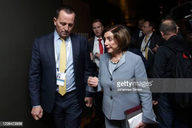 Nancy Pelosi speaker of the US house of representatives and US ambassador to the federal republic of Germany Richard Allen Grenell chat together...