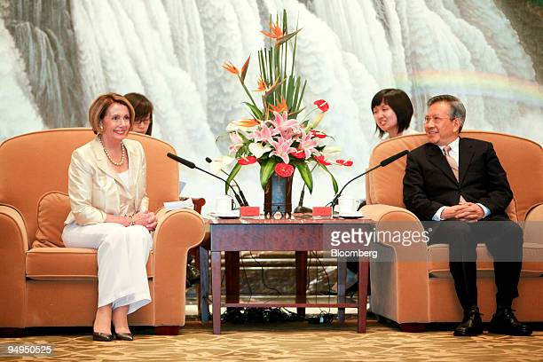Nancy Pelosi speaker of the US House of Representatives left meets with Liu Yungeng chairman of Shanghai's Municipal People's Congress in Shanghai...