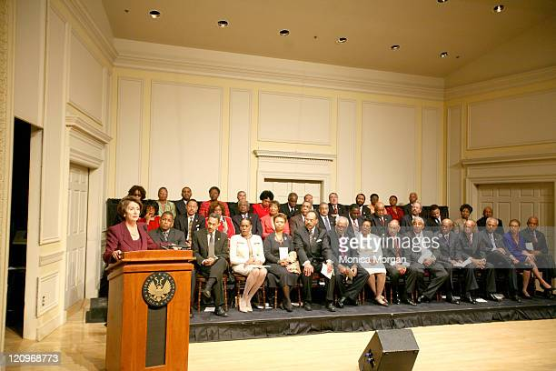 Nancy Pelosi SpeakerElect US House of Representatives addresses members of The Congressional Black Caucus at he Jefferson Building of The Library of...