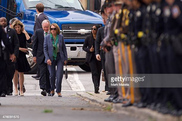 Nancy Pelosi the Minority Leader of the United States House of Representatives arrives at St Anthony of Padua Church for a mass of Christian burial...