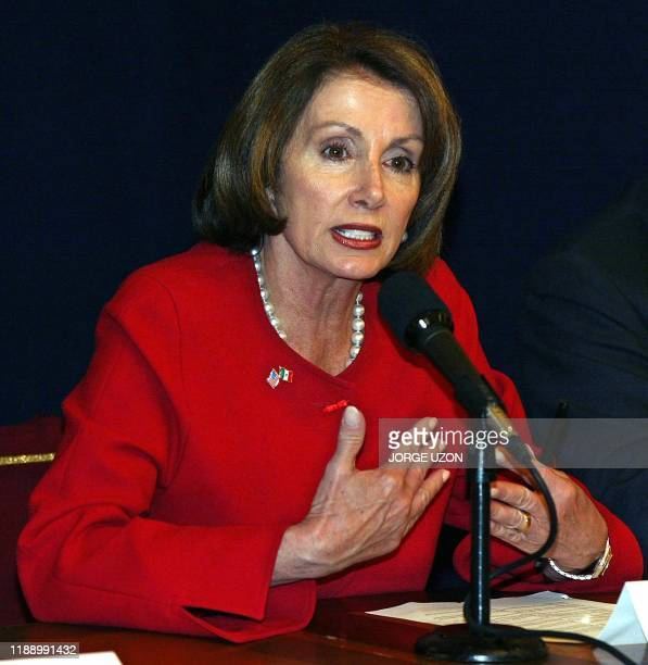 Nancy Pelosi US head of the Democrat Party at the House of Representatives holds a press conference after hers today's meeting with the Mexican...