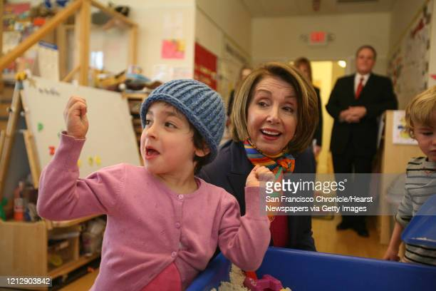 Nancy Pelosi visits a preschool room during her visit to the Holy Family Day Home in San Francisco Calif on Friday February 27 2009 to discuss...
