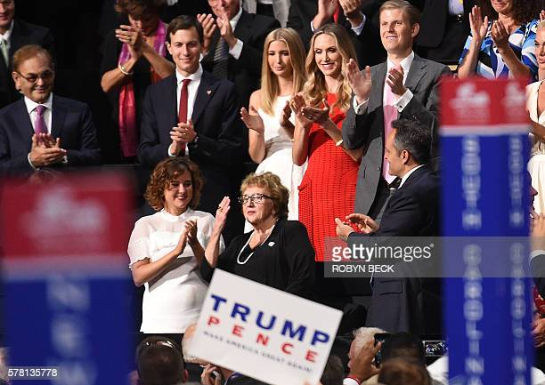 Nancy PenceFritsch mother of 2016 Republican Vice Presidential Nominee Mike Pence gestures during the Republican National Convention at the Quicken...