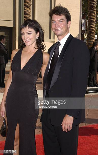 Nancy Pimental & Jerry O'Connell during 2002 Creative Arts Emmy Awards - Arrivals at Shrine Auditorium in Los Angeles, California, United States.