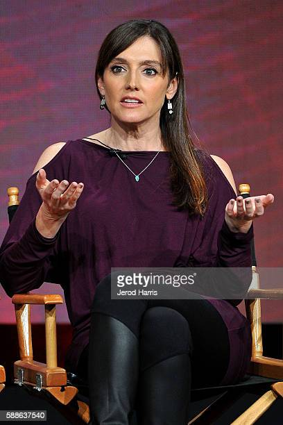 Nancy Pimental speaks onstage at the 'Love & Marriage On TV' panel discussion during the CW portion of the 2016 Television Critics Association Summer...