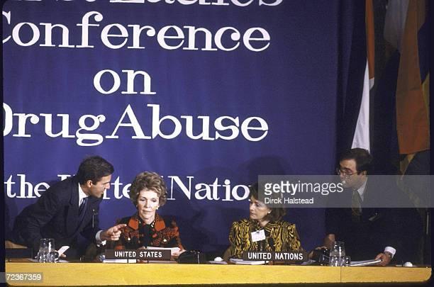Nancy Reagan and Marcela Perez de Cuellar wife of UN Secretary Gen at First Ladies Conf on Drug Abuse at UN