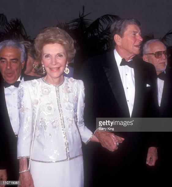 Nancy Reagan and Ronald Reagan during Warner Bros Studio Rededication 1990 at Warner Bros Studios in Burbank California United States