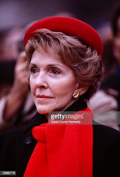 Nancy Reagan awaits the arrival of Premier Zhao Ziyang of China at the White House Diplomatic Entrance January 10 1984 in Washington DC