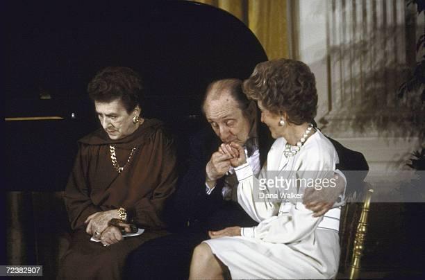 Nancy Reagan comforted by Vladimir Horowitz with Mrs Horowitz