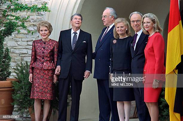 Nancy Reagan Former US President Ronald Reagan German Chancellor Helmut Kohl his wife Hannelore publishing tycoon Rupert Murdoch and his wife Anna...
