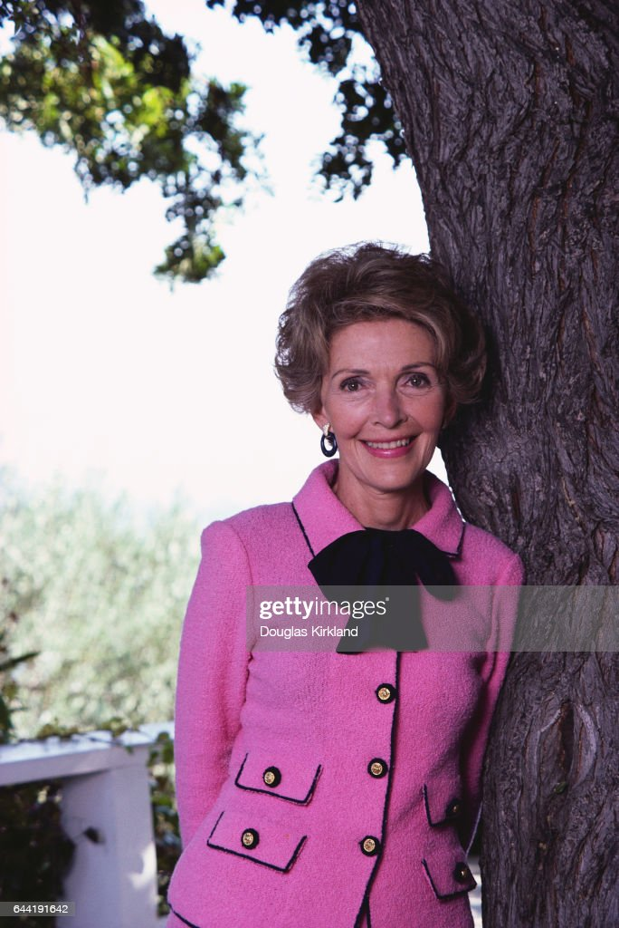 Nancy Reagan Leaning Against a Tree